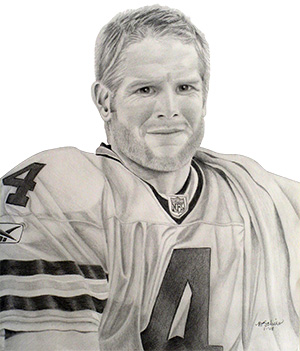 Brett Farve, pencil drawing by Brenda