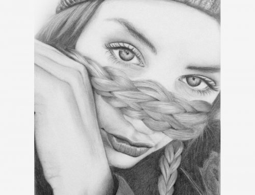 Woman with Hat Pencil Portrait