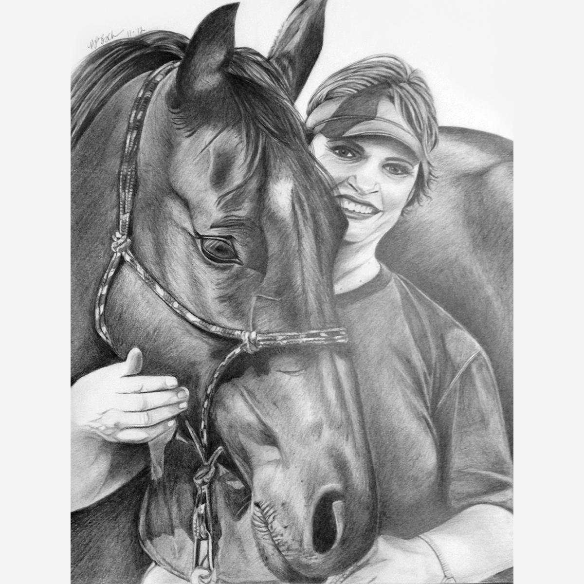 Woman Horse Pencil Portrait Pencil Portraits By Brenda